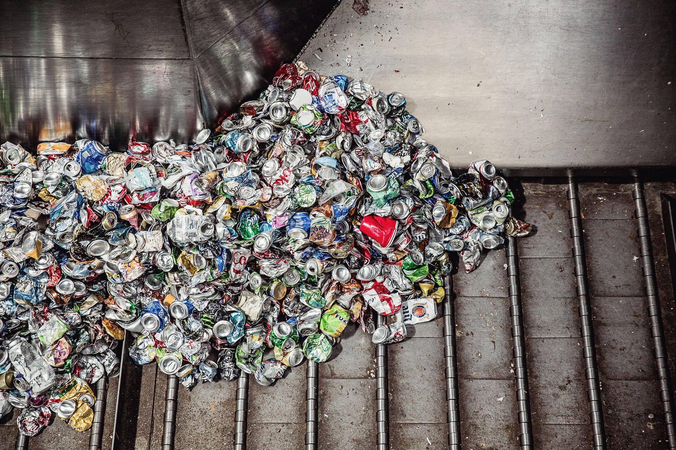 Mike Kane | Aluminum cans at recycling facility | Seattle documentary, editorial, and commercial photography
