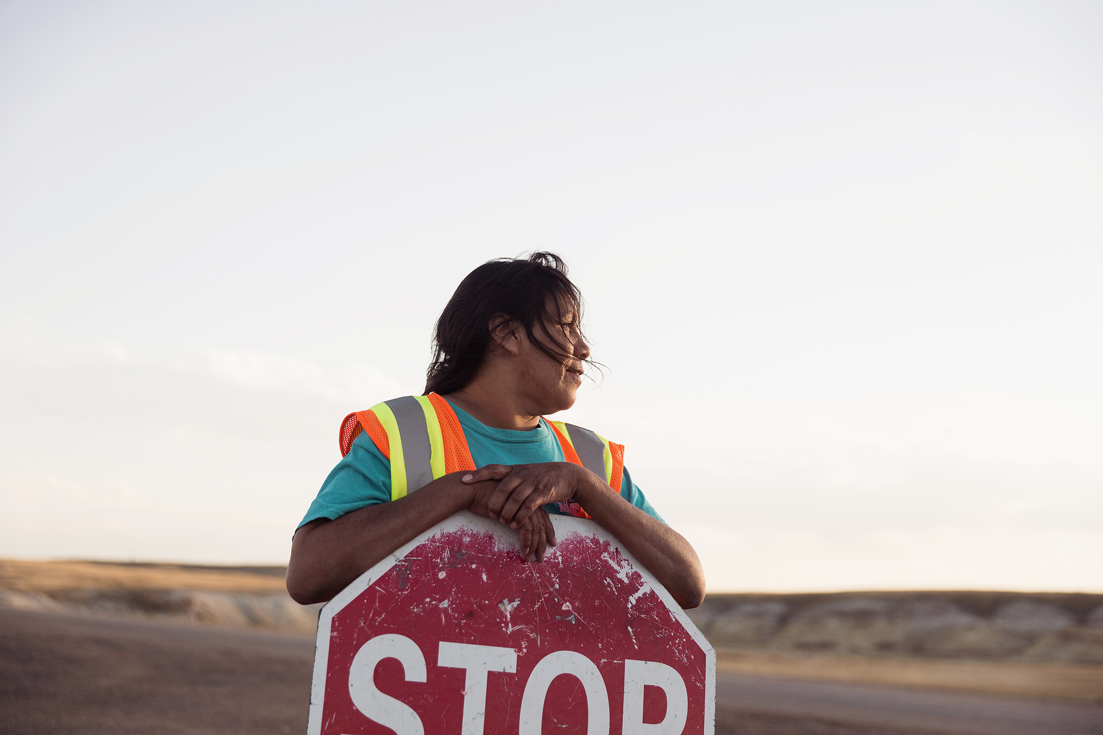 Mike Kane | Traffic flagger on the Pine Ridge Reservation | Seattle documentary, editorial, and commercial photography