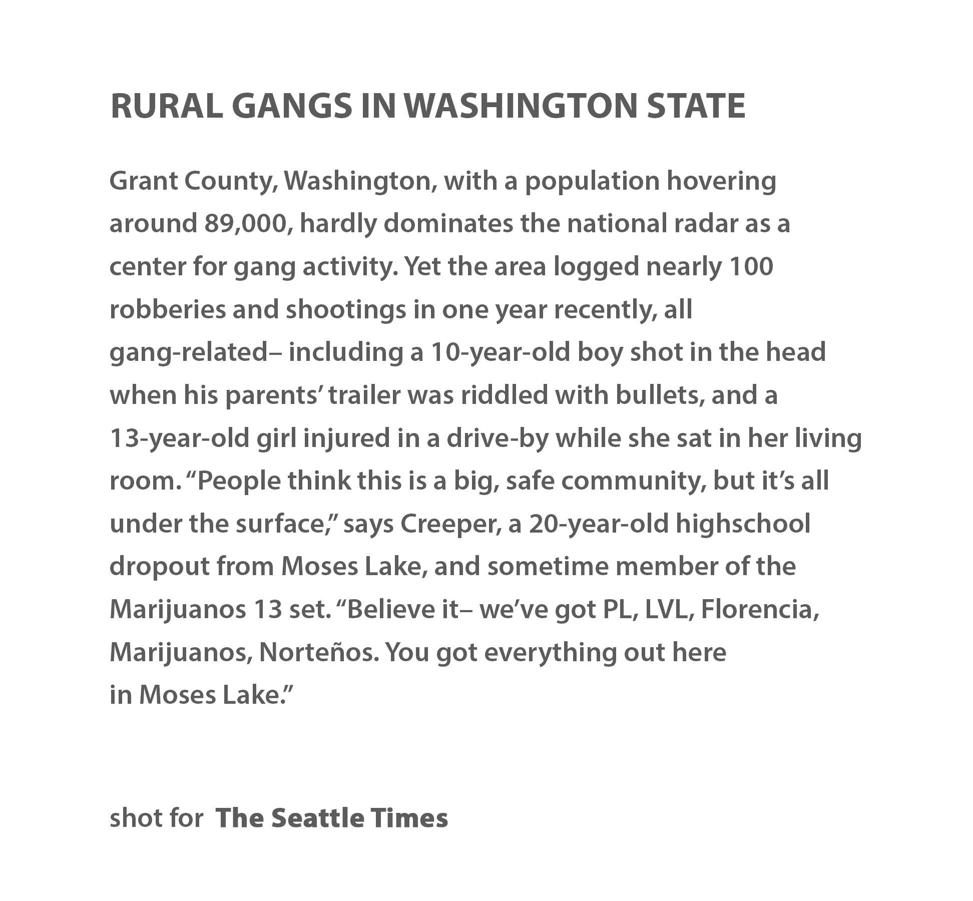 Rural gangs in Washington state by Seattle photojournalist Mike Kane editorial photographer